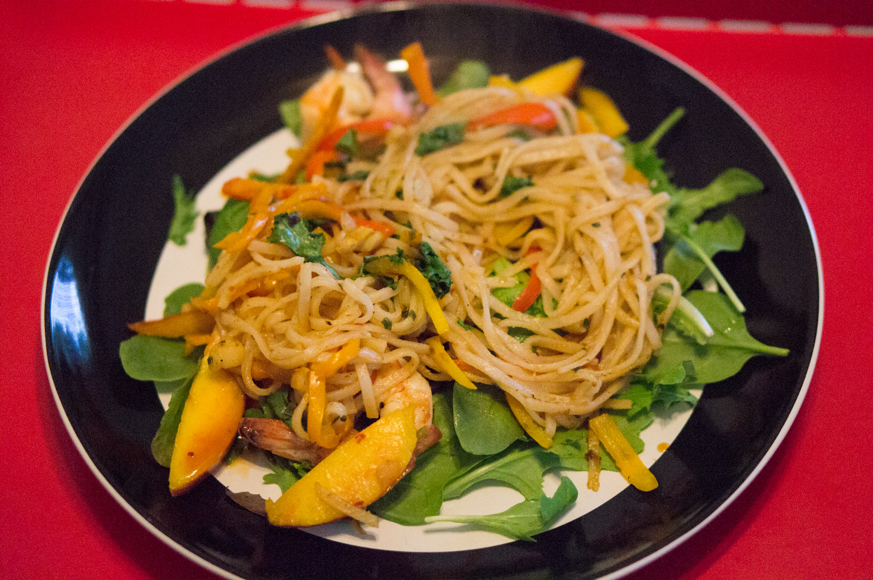 In a plate place some greens, then pour the noodles over them. How ...